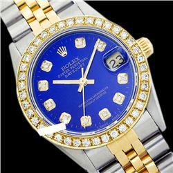 Rolex Ladies Two Tone 14K Gold/ss, Diamond Dial & Diamond Bezel, Saph Crystal - REF-363K3R