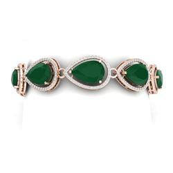 42.47 CTW Royalty Emerald & VS Diamond Bracelet 18K Rose Gold - REF-654H5W - 39556