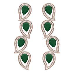 16.44 CTW Royalty Emerald & VS Diamond Earrings 18K Rose Gold - REF-336K4R - 39451