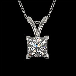 0.50 CTW Certified VS/SI Quality Princess Diamond Necklace 10K White Gold - REF-74R5K - 33166