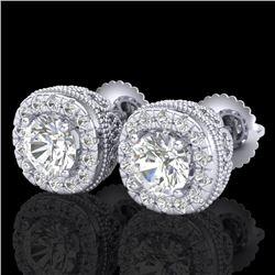 1.69 CTW VS/SI Diamond Solitaire Art Deco Stud Earrings 18K White Gold - REF-263F6M - 37118