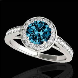1.45 CTW SI Certified Fancy Blue Diamond Solitaire Halo Ring 10K White Gold - REF-169R3K - 33801