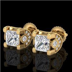 2.5 CTW Princess VS/SI Diamond Art Deco Stud Earrings 18K Yellow Gold - REF-642N2Y - 37153