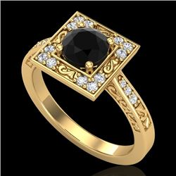1.1 CTW Fancy Black Diamond Solitaire Engagement Art Deco Ring 18K Yellow Gold - REF-100X2T - 38152