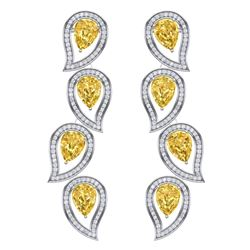 14.63 CTW Royalty Canary Citrine & VS Diamond Earrings 18K White Gold - REF-281X8T - 39462