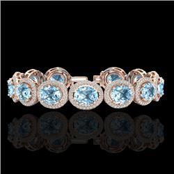 30 CTW Sky Blue Topaz & Micro Pave VS/SI Diamond Certified Bracelet 10K Rose Gold - REF-360H2W - 227