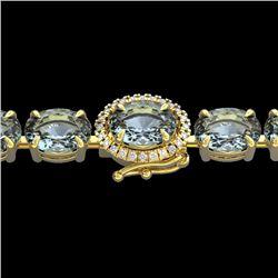 26 CTW Aquamarine & VS/SI Diamond Eternity Tennis Micro Halo Bracelet 14K Yellow Gold - REF-285N3Y -