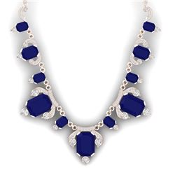 75.21 CTW Royalty Sapphire & VS Diamond Necklace 18K Rose Gold - REF-1072X8T - 38752