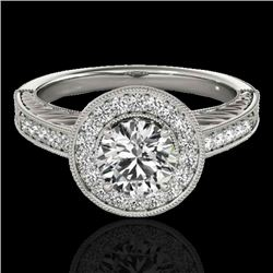 1.5 CTW H-SI/I Certified Diamond Solitaire Halo Ring 10K White Gold - REF-200H2W - 33742