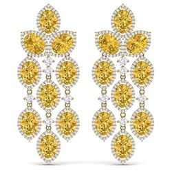 27.95 CTW Royalty Canary Citrine & VS Diamond Earrings 18K Yellow Gold - REF-445R5K - 38939