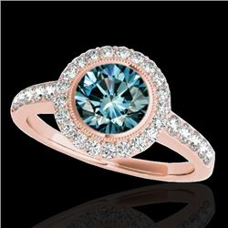 1.5 CTW SI Certified Fancy Blue Diamond Solitaire Halo Ring 10K Rose Gold - REF-180T2X - 34447