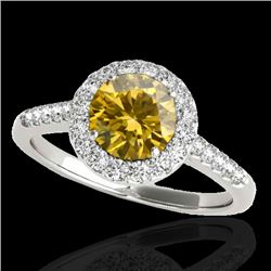 1.5 CTW Certified Si Fancy Intense Yellow Diamond Solitaire Halo Ring 10K White Gold - REF-169Y3N -