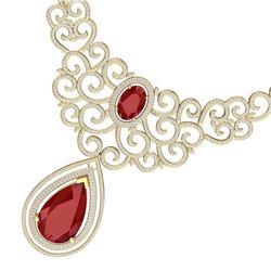 87.52 CTW Royalty Ruby & VS Diamond Necklace 18K Yellow Gold - REF-2000H2W - 39841