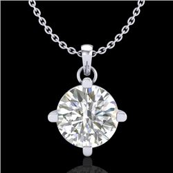 1 CTW VS/SI Diamond Solitaire Art Deco Stud Necklace 18K White Gold - REF-345K5R - 37232