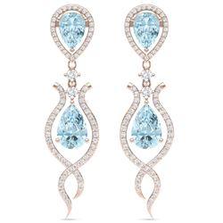 16.57 CTW Royalty Sky Topaz & VS Diamond Earrings 18K Rose Gold - REF-290W9H - 39520