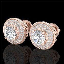 2.35 CTW VS/SI Diamond Solitaire Art Deco Stud Earrings 18K Rose Gold - REF-400X2T - 37257