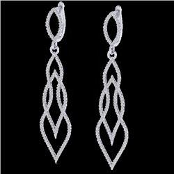 1.90 CTW Micro Pave VS/SI Diamond Certified Earrings 14K White Gold - REF-143N5Y - 20094