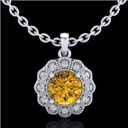 1.15 CTW Intense Fancy Yellow Diamond Art Deco Stud Necklace 18K White Gold - REF-180N2Y - 37847