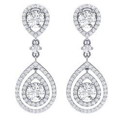 3.53 CTW Royalty Designer VS/SI Diamond Earrings 18K White Gold - REF-418H2W - 39108
