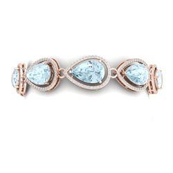 41.07 CTW Royalty Sky Topaz & VS Diamond Bracelet 18K Rose Gold - REF-436M4F - 39565