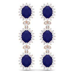 24.52 CTW Royalty Sapphire & VS Diamond Earrings 18K Rose Gold - REF-400K2R - 38644