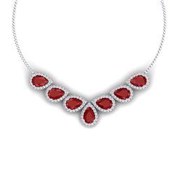 34.72 CTW Royalty Ruby & VS Diamond Necklace 18K White Gold - REF-690F9M - 38829
