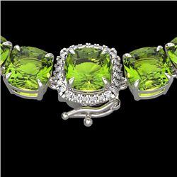 100 CTW Peridot & VS/SI Diamond Halo Micro Pave Necklace 14K White Gold - REF-528H9W - 23354