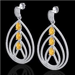 4 CTW Citrine & Micro Pave VS/SI Diamond Certified Earrings 18K White Gold - REF-255Y5N - 22452