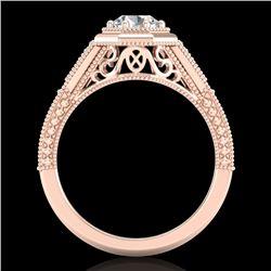 0.84 CTW VS/SI Diamond Solitaire Art Deco Ring 18K Rose Gold - REF-236K4R - 37092