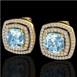 4.05 CTW Sky Blue Topaz & Micro VS/SI Diamond Halo Earrings 18K Yellow Gold - REF-104W4H - 20158