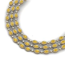 69.29 CTW Royalty Canary Citrine & VS Diamond Necklace 18K Yellow Gold - REF-1418X2T - 38957
