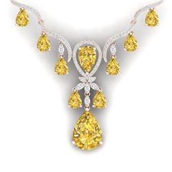 35.70 CTW Royalty Canary Citrine & VS Diamond Necklace 18K Rose Gold - REF-618R2K - 38602