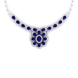 38.46 CTW Royalty Sapphire & VS Diamond Necklace 18K White Gold - REF-618H2W - 39036