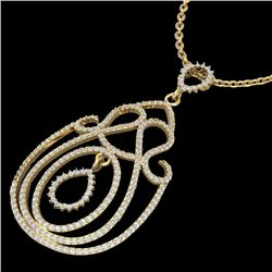 2 CTW Micro Pave Designer VS/SI Diamond Certified Necklace 14K Yellow Gold - REF-149N5Y - 22451