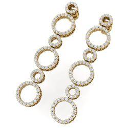 1.50 CTW Certified SI/I Diamond Halo Earrings 18K Yellow Gold - REF-126M5F - 40183