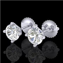 1.5 CTW VS/SI Diamond Solitaire Art Deco Stud Earrings 18K White Gold - REF-309R3K - 37301