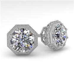 2.05 CTW Certified VS/SI Diamond Stud Earrings 18K White Gold - REF-561X9T - 35976