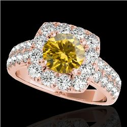 2.25 CTW Certified Si Fancy Intense Yellow Diamond Solitaire Halo Ring 10K Rose Gold - REF-229K3R -
