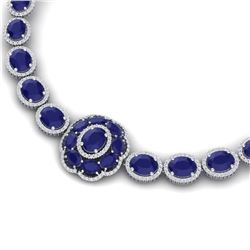 79.27 CTW Royalty Sapphire & VS Diamond Necklace 18K White Gold - REF-1236K4R - 39225