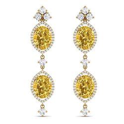 12.21 CTW Royalty Canary Citrine & VS Diamond Earrings 18K Yellow Gold - REF-254X5T - 38921