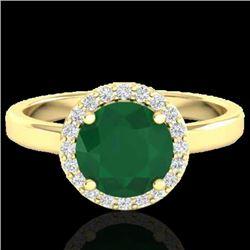 2 CTW Emerald & Halo VS/SI Diamond Micro Pave Ring Solitaire 18K Yellow Gold - REF-58K2R - 21629