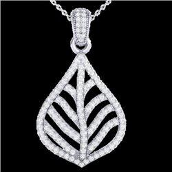 1.25 CTW Micro Pave VS/SI Diamond Certified Necklace Designer 18K White Gold - REF-114T8X - 21285