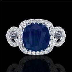 3.15 CTW Sapphire & Micro VS/SI Diamond Certified Ring 18K White Gold - REF-76R9K - 23010