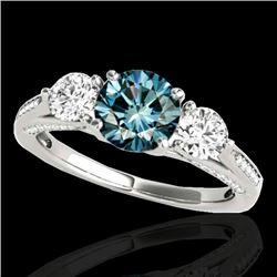 1.75 CTW SI Certified Fancy Blue Diamond 3 Stone Ring 10K White Gold - REF-209X3T - 35354