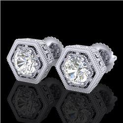 1.07 CTW VS/SI Diamond Solitaire Art Deco Stud Earrings 18K White Gold - REF-190F9M - 36899