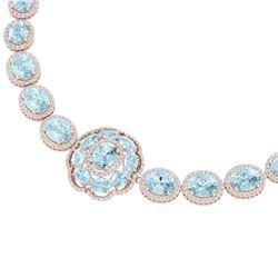 81.42 CTW Royalty Sky Topaz & VS Diamond Necklace 18K Rose Gold - REF-1054T5X - 39232