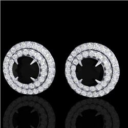 2 CTW Micro Pave VS/SI Diamond Certified Stud Earrings Double Halo 18K White Gold - REF-109X3T - 214