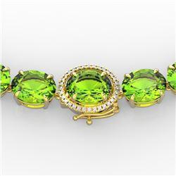 148 CTW Peridot & VS/SI Diamond Solitaire Necklace 14K Yellow Gold - REF-913M8F - 22308