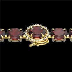 19.25 CTW Garnet & VS/SI Diamond Eternity Tennis Micro Halo Bracelet 14K Yellow Gold - REF-107W3H -