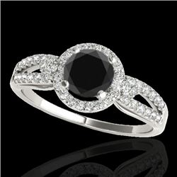 1.25 CTW Certified Vs Black Diamond Solitaire Halo Ring 10K White Gold - REF-57H5W - 34090